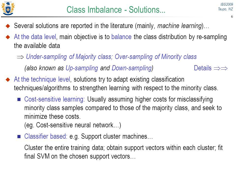 Class Imbalance - Solutions...