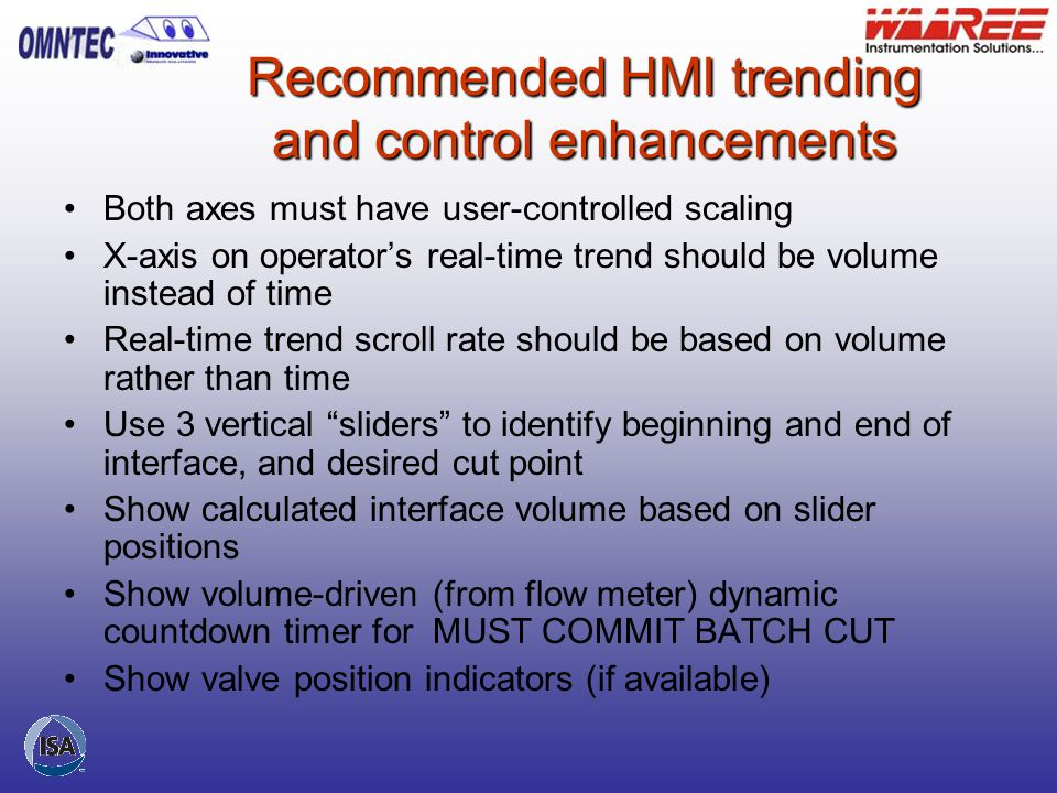 Recommended HMI trending and control enhancements