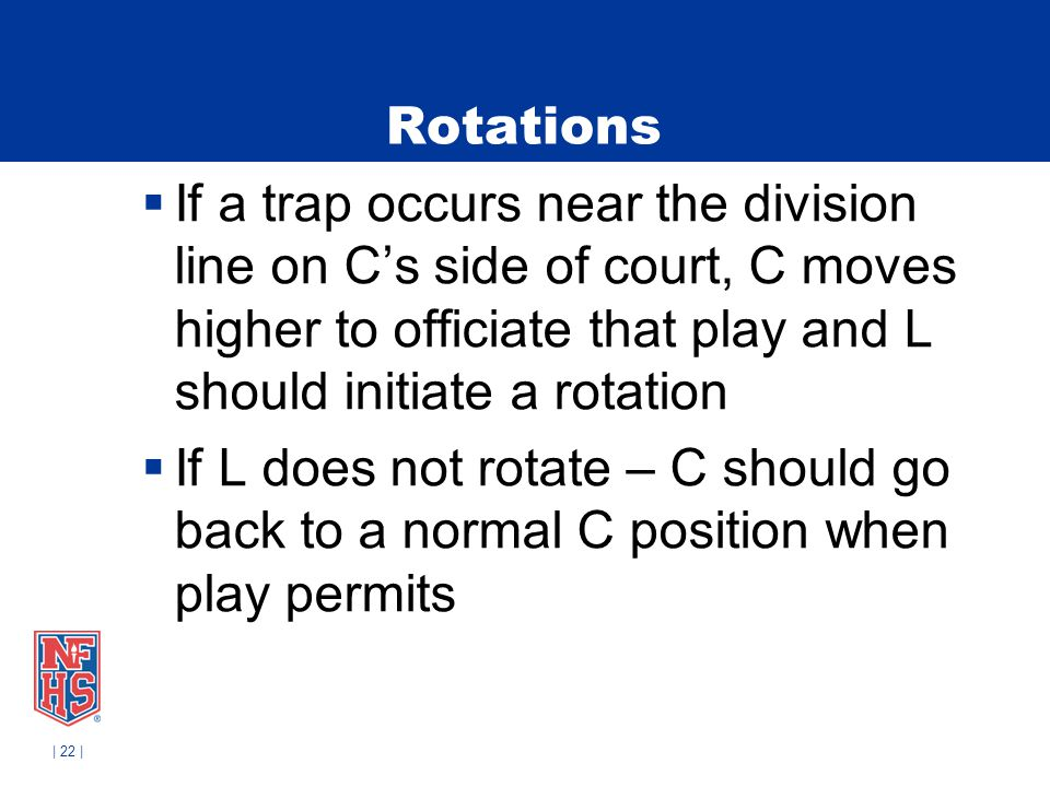 Rotations If a trap occurs near the division line on C's side of court, C moves higher to officiate that play and L should initiate a rotation.