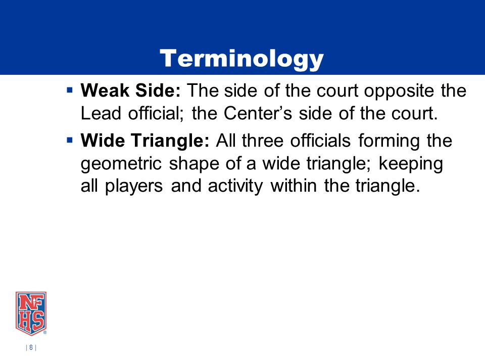 Terminology Weak Side: The side of the court opposite the Lead official; the Center's side of the court.