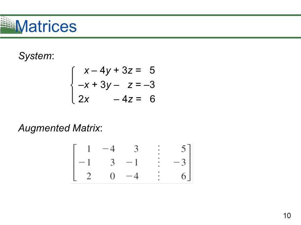 Matrices System: x – 4y + 3z = 5 –x + 3y – z = –3 2x – 4z = 6