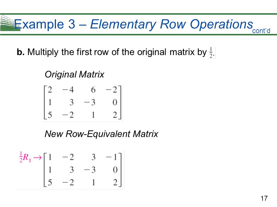 Example 3 – Elementary Row Operations