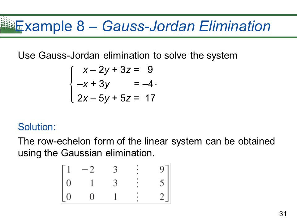 Example 8 – Gauss-Jordan Elimination