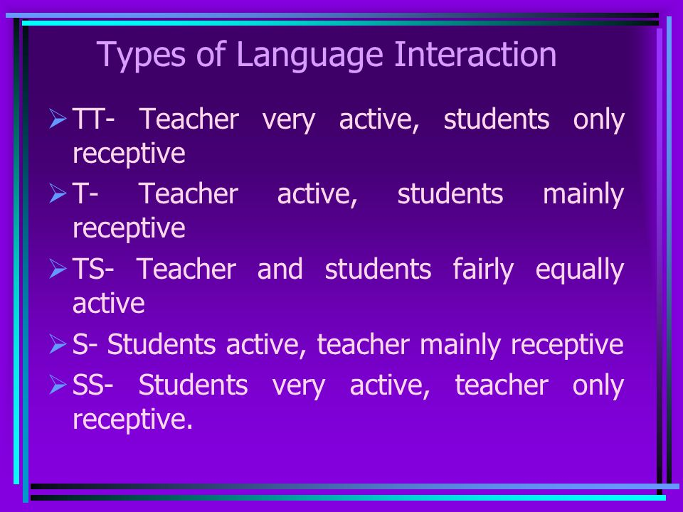 Types of Language Interaction