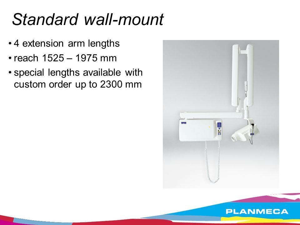 Standard wall-mount 4 extension arm lengths reach 1525 – 1975 mm