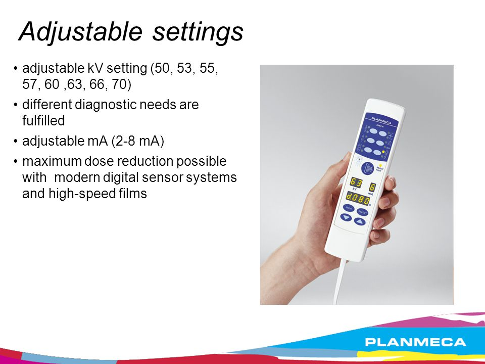 Adjustable settings adjustable kV setting (50, 53, 55, 57, 60 ,63, 66, 70) different diagnostic needs are fulfilled.