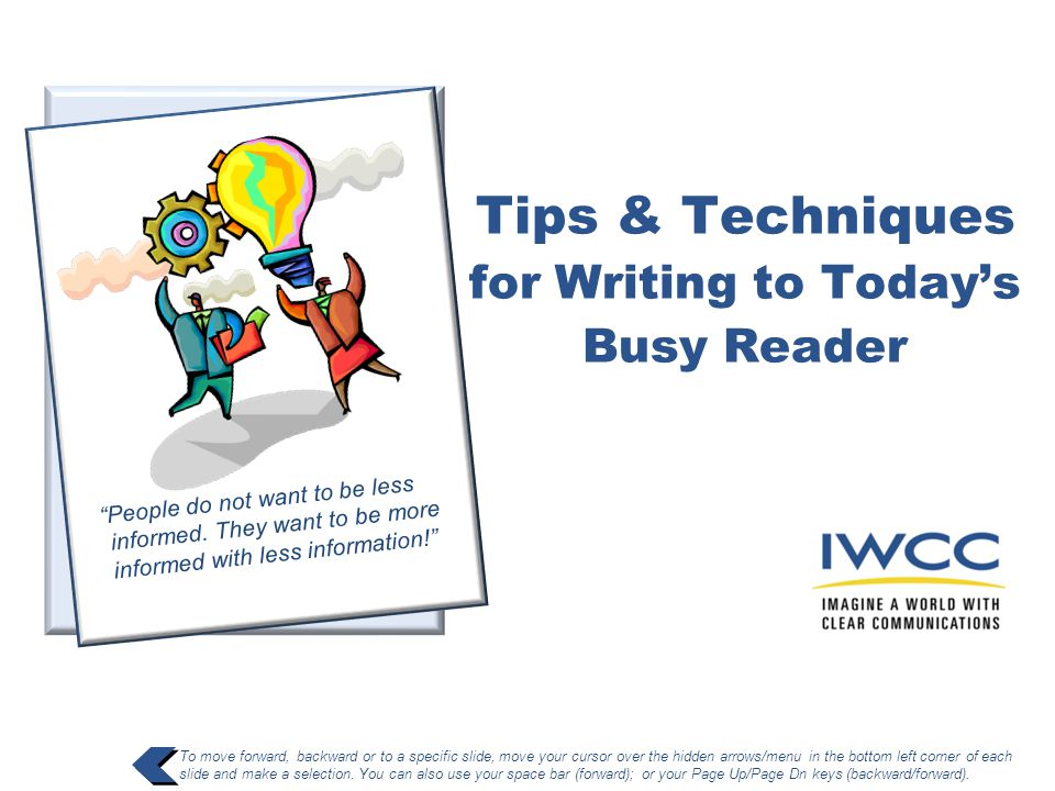 Tips & Techniques for Writing to Today's Busy Reader