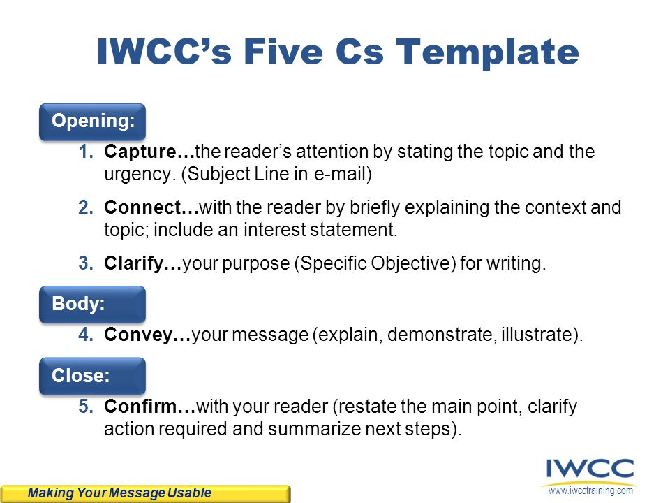 IWCC's Five Cs Template