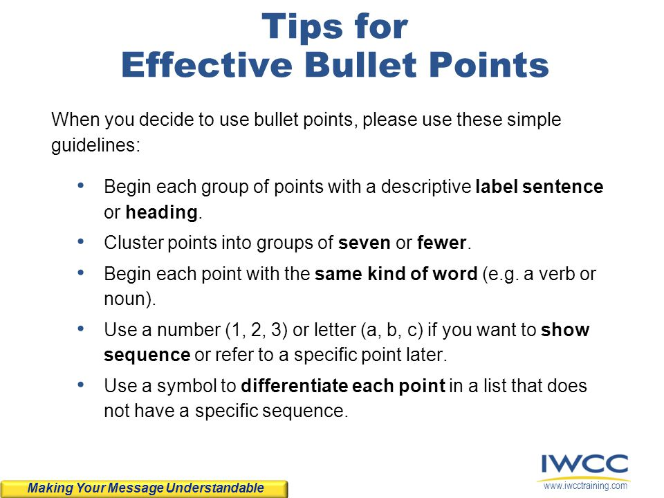 Tips for Effective Bullet Points