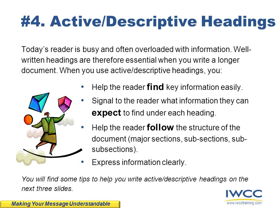 #4. Active/Descriptive Headings