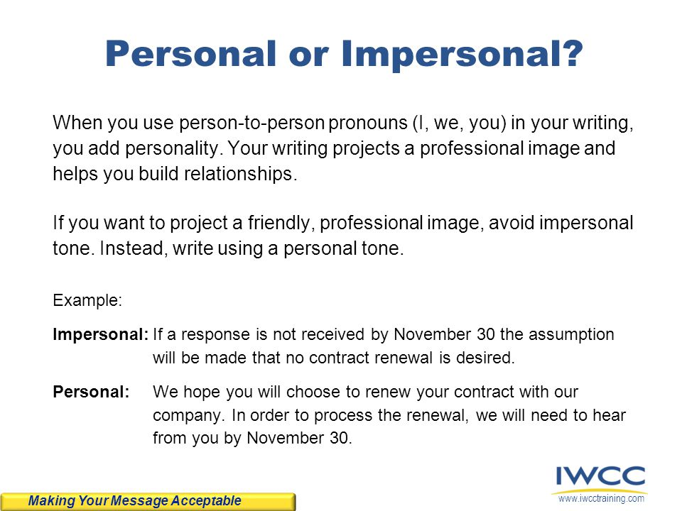Personal or Impersonal