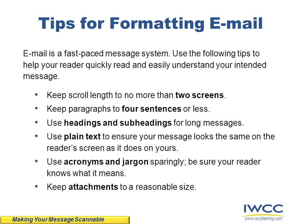 Tips for Formatting E-mail