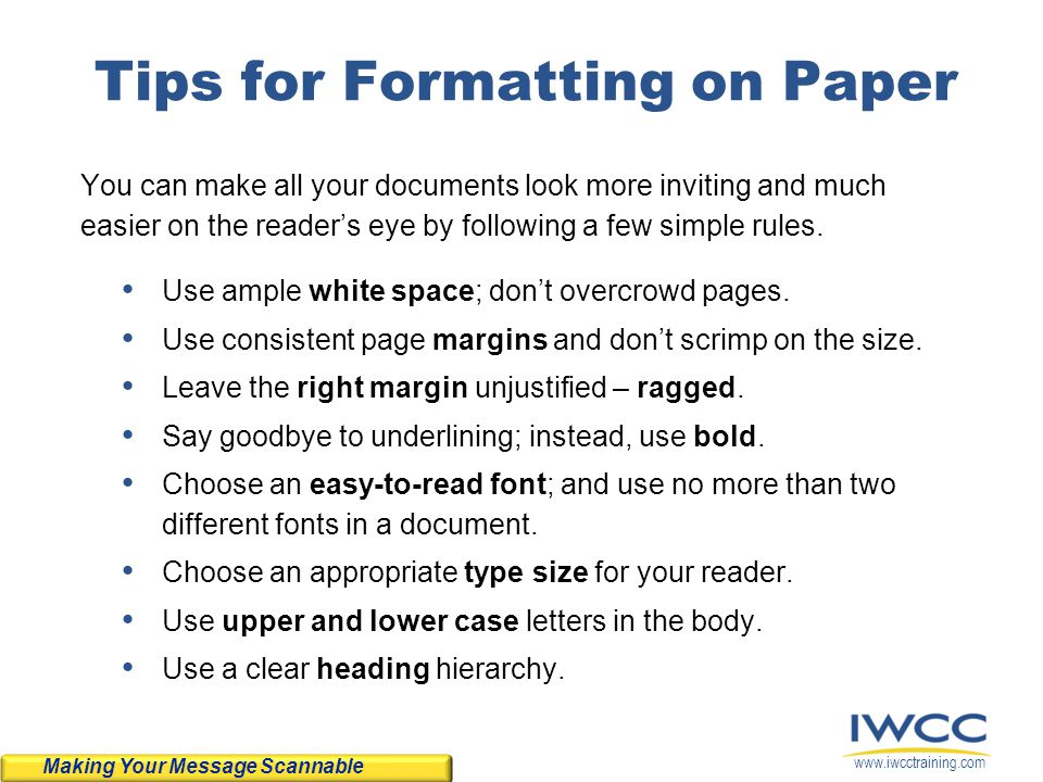 Tips for Formatting on Paper