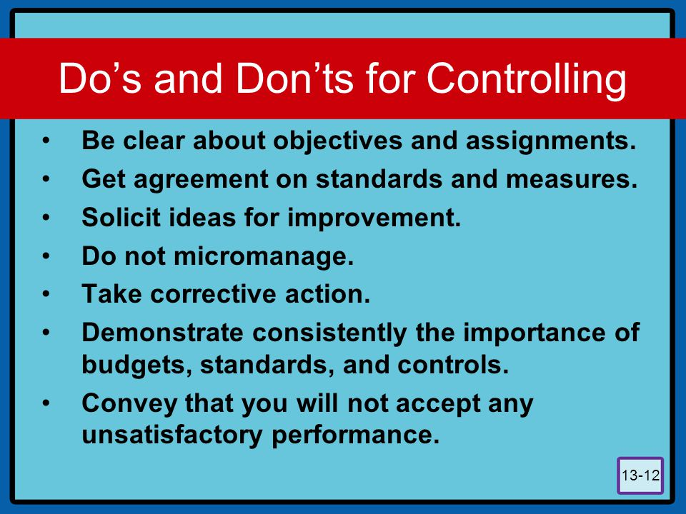 Do's and Don'ts for Controlling