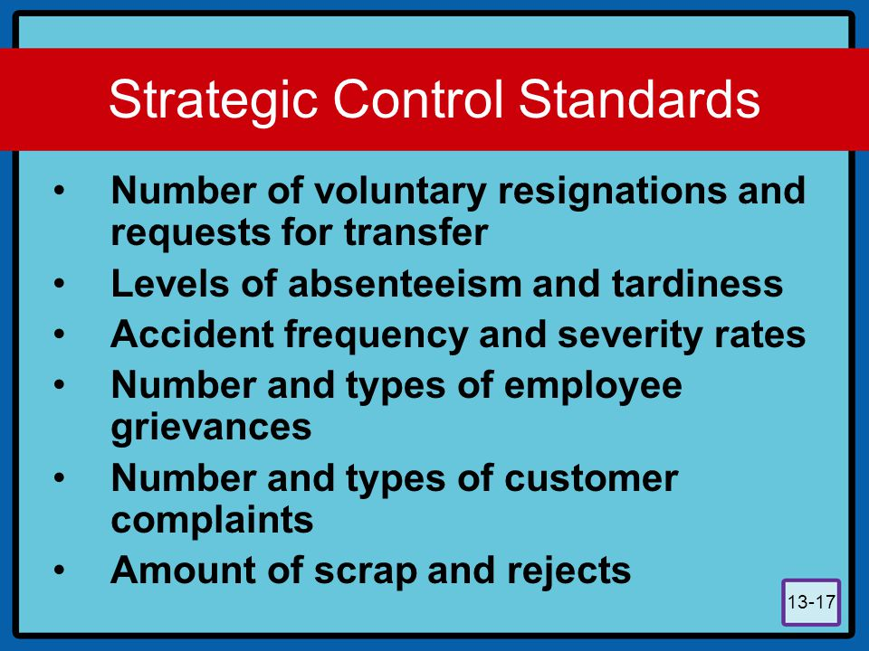 Strategic Control Standards