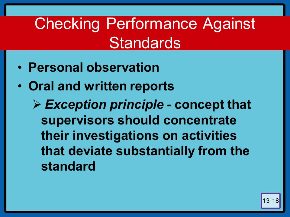 Checking Performance Against Standards