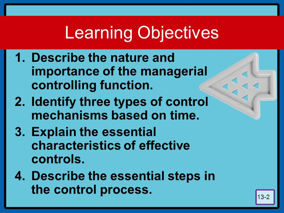 Learning Objectives Describe the nature and importance of the managerial controlling function.