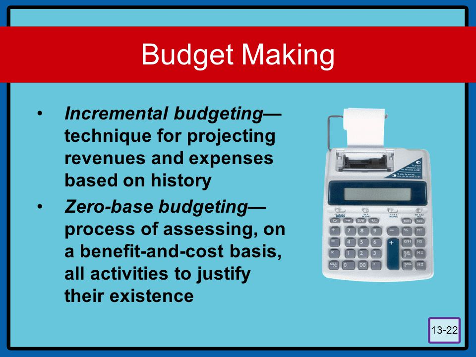 Budget Making Incremental budgeting—technique for projecting revenues and expenses based on history.