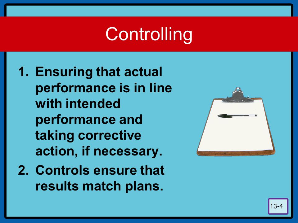 Controlling Ensuring that actual performance is in line with intended performance and taking corrective action, if necessary.