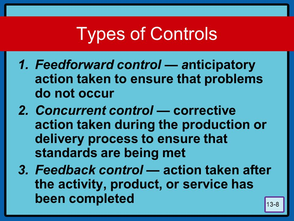 Types of Controls Feedforward control — anticipatory action taken to ensure that problems do not occur.