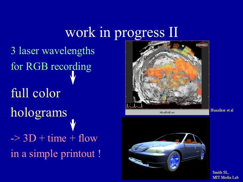 work in progress II full color holograms 3 laser wavelengths