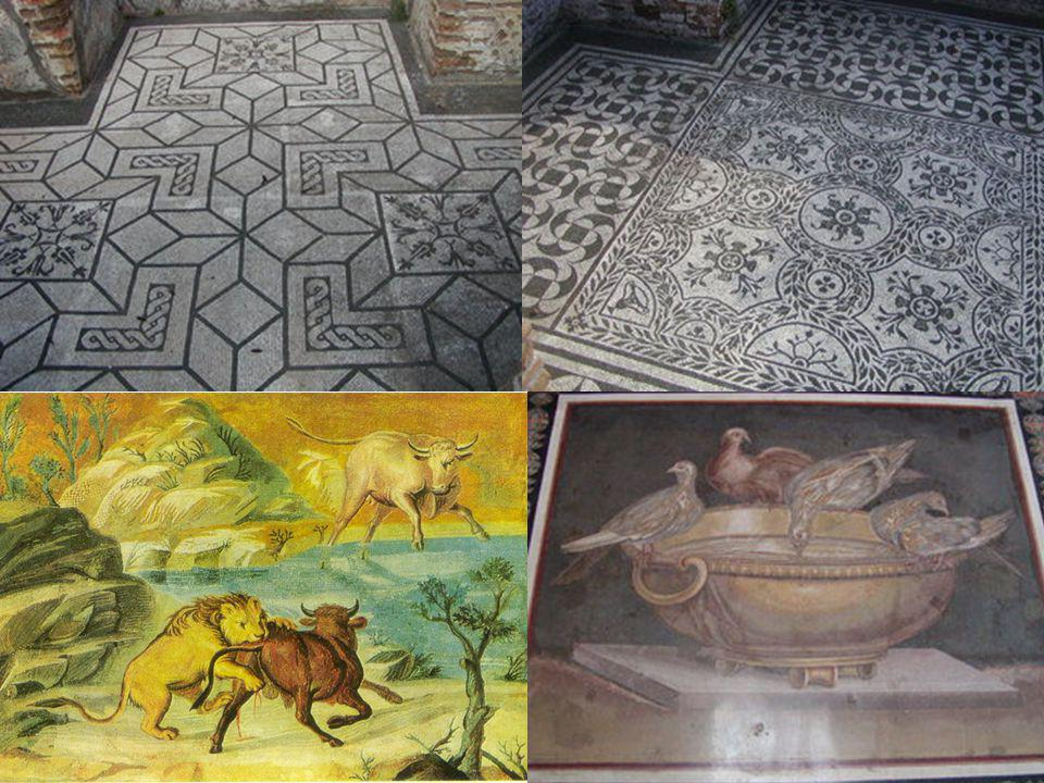 Some fine example of geometric patterns in mosaic black/white floors of Hadrian's Villa