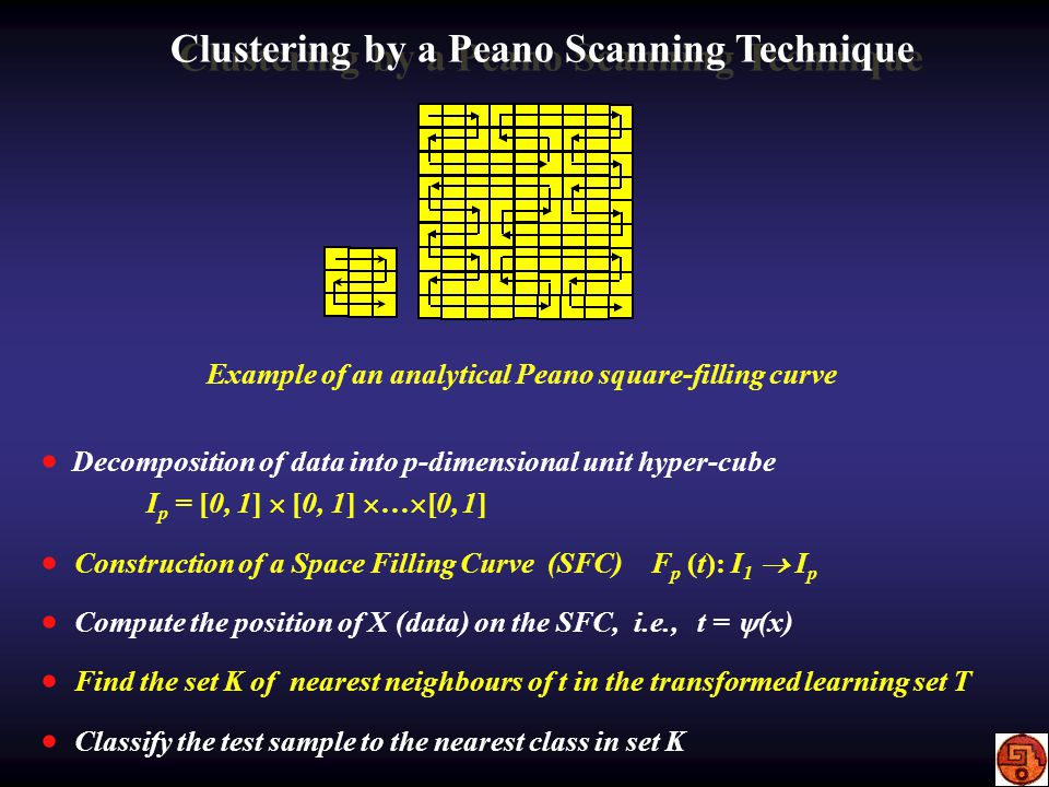 Clustering by a Peano Scanning Technique