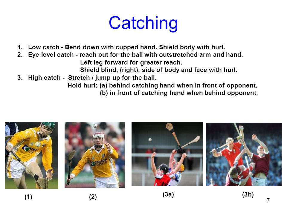 Catching Low catch - Bend down with cupped hand. Shield body with hurl. Eye level catch - reach out for the ball with outstretched arm and hand.