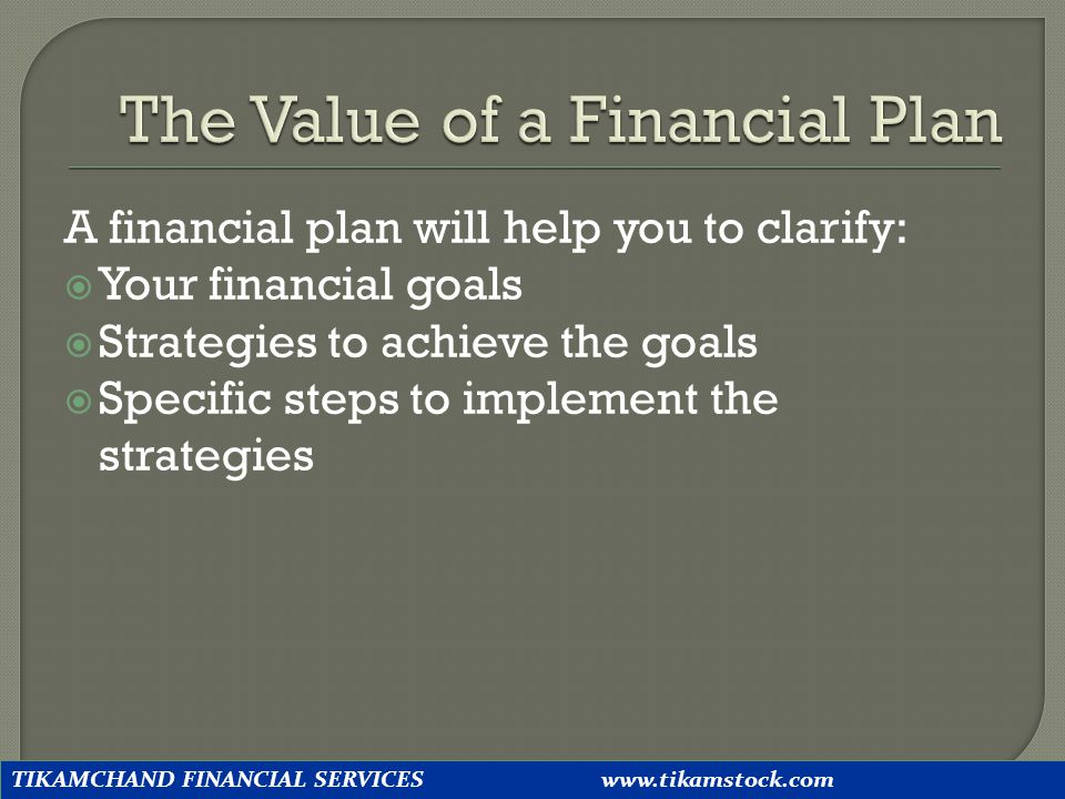 The Value of a Financial Plan