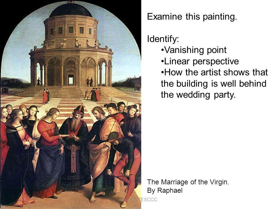 Examine this painting. Identify: Vanishing point Linear perspective