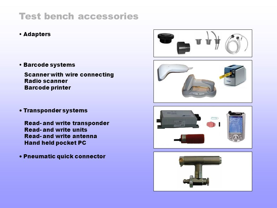 Test bench accessories