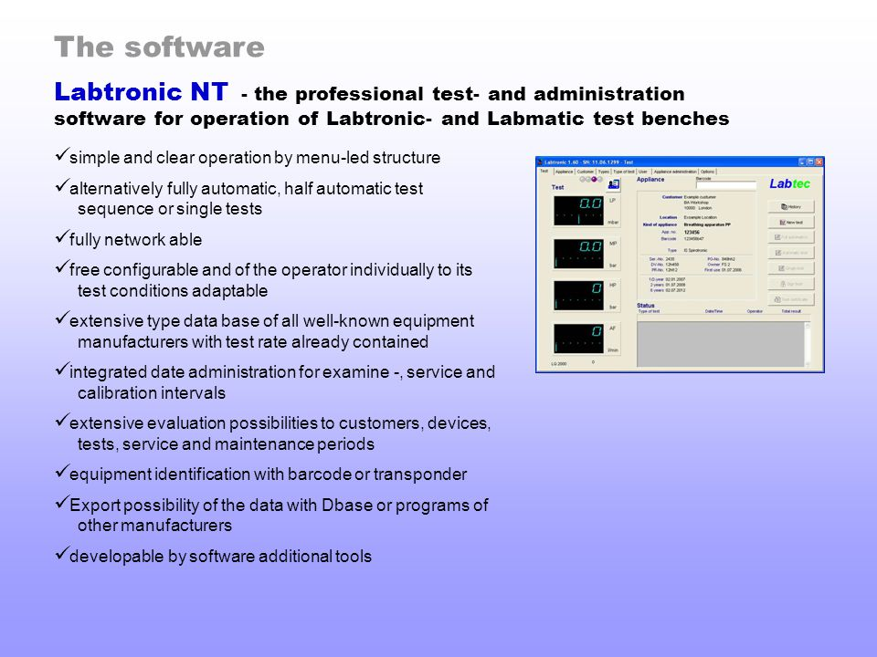 The software Labtronic NT - the professional test- and administration software for operation of Labtronic- and Labmatic test benches.