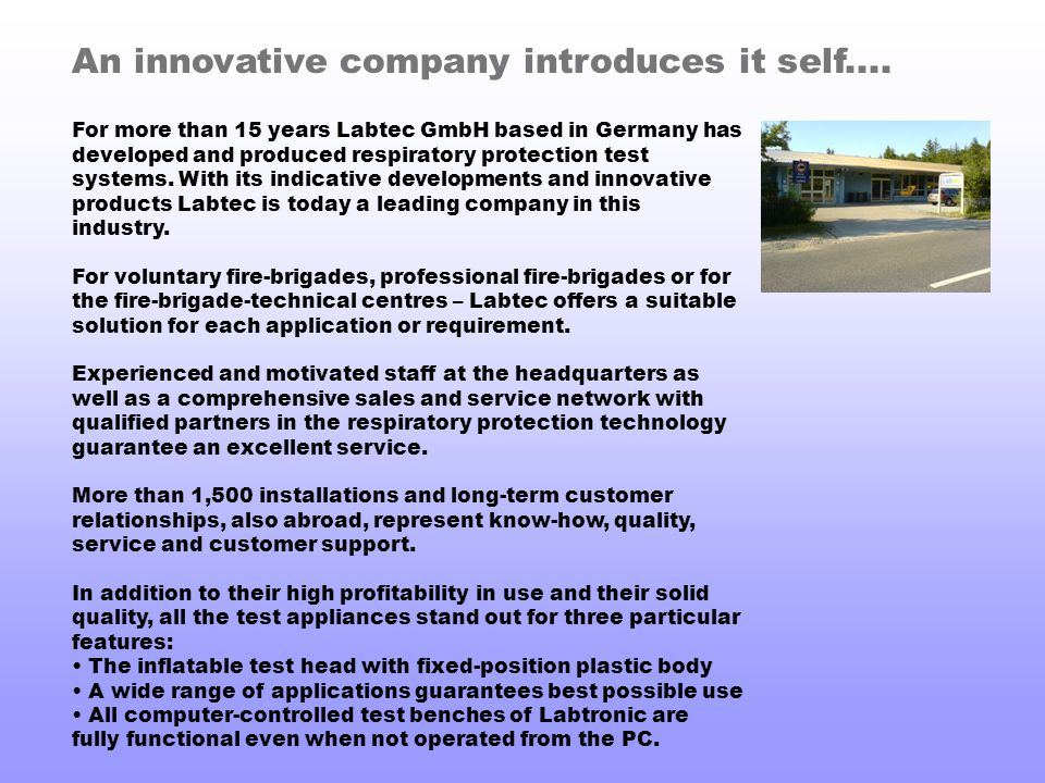 An innovative company introduces it self....
