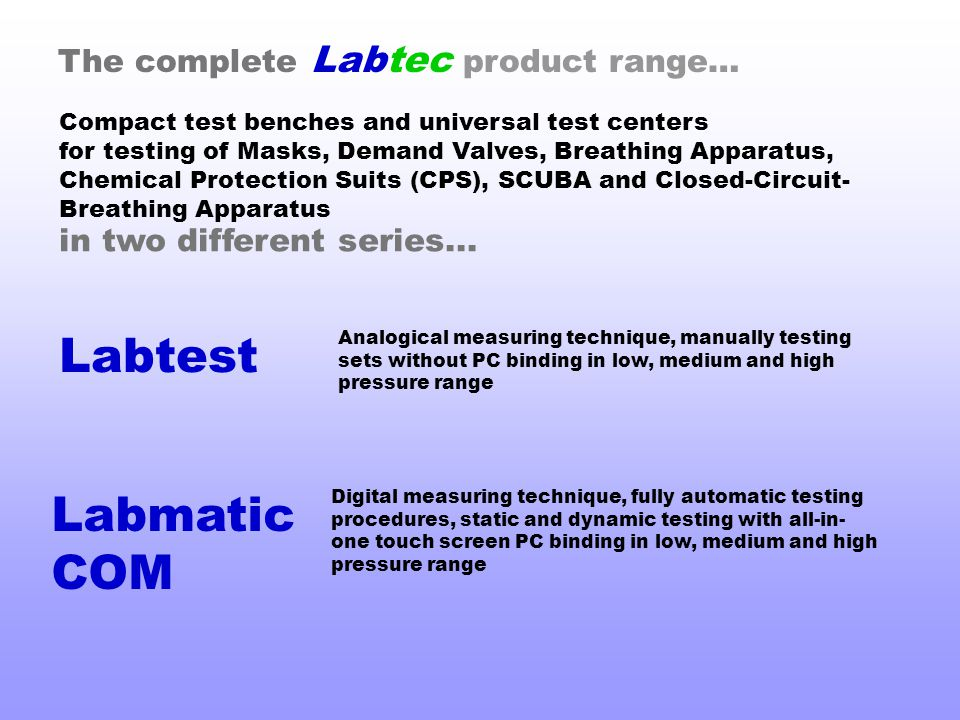 Labtest Labmatic COM The complete Labtec product range…