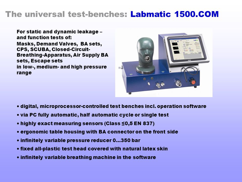The universal test-benches: Labmatic 1500.COM