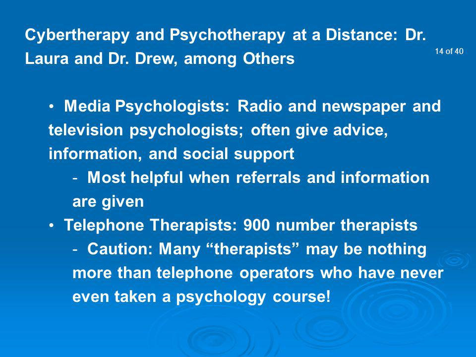 Cybertherapy and Psychotherapy at a Distance: Dr. Laura and Dr
