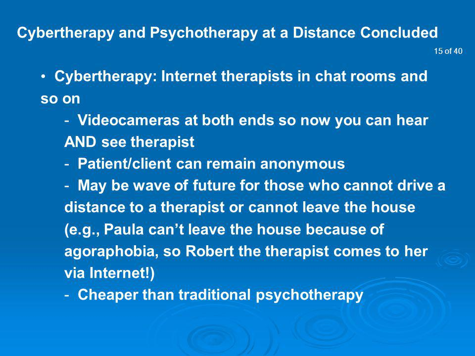 Cybertherapy and Psychotherapy at a Distance Concluded