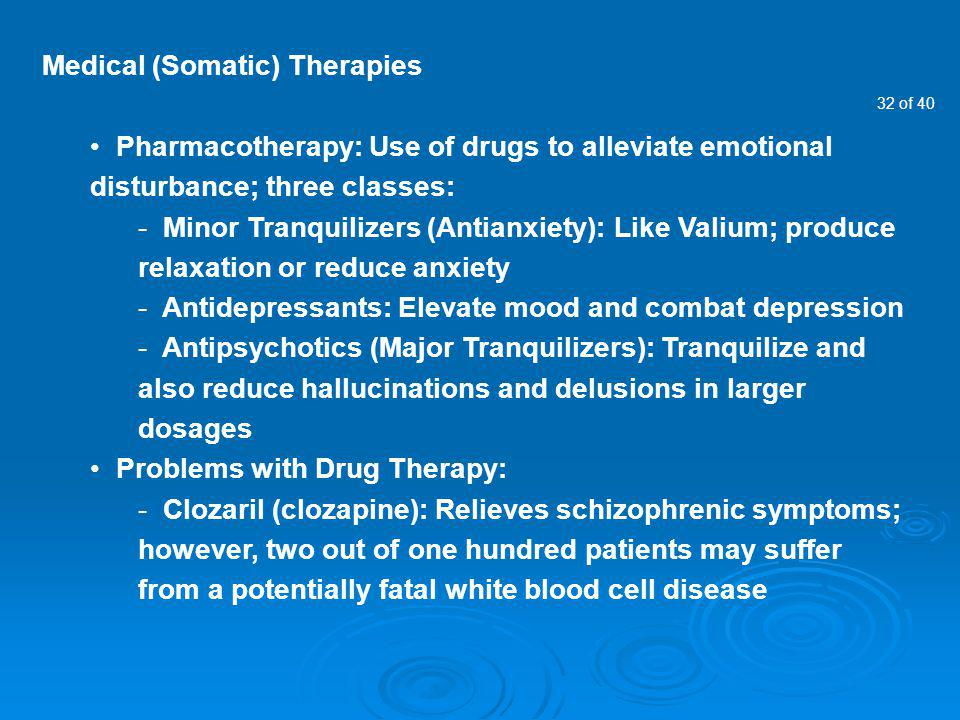 Medical (Somatic) Therapies
