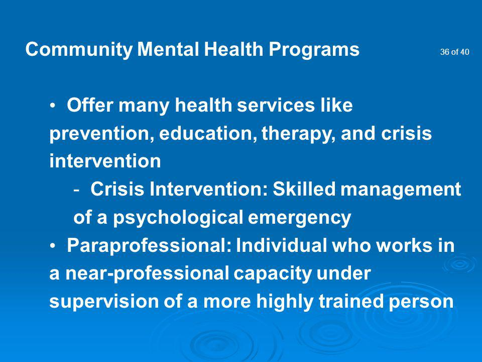 Community Mental Health Programs