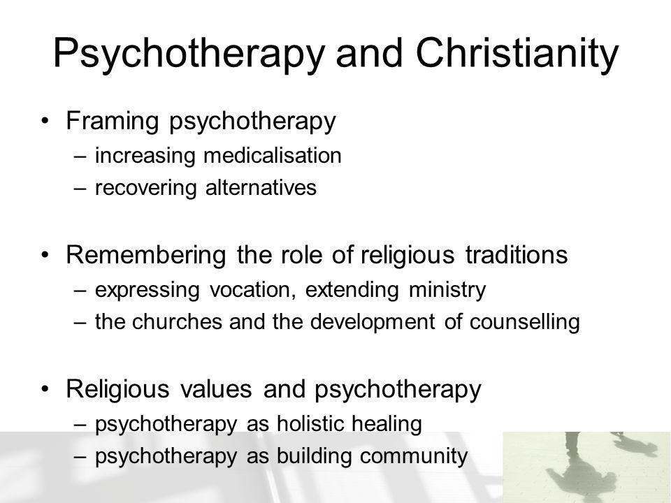 Psychotherapy and Christianity