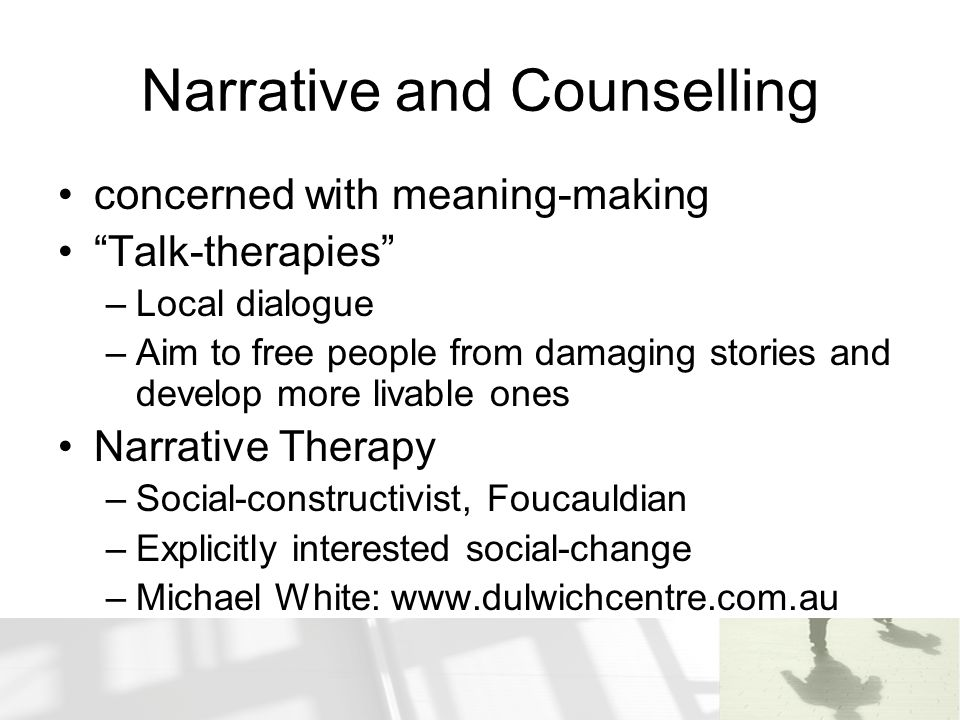 Narrative and Counselling