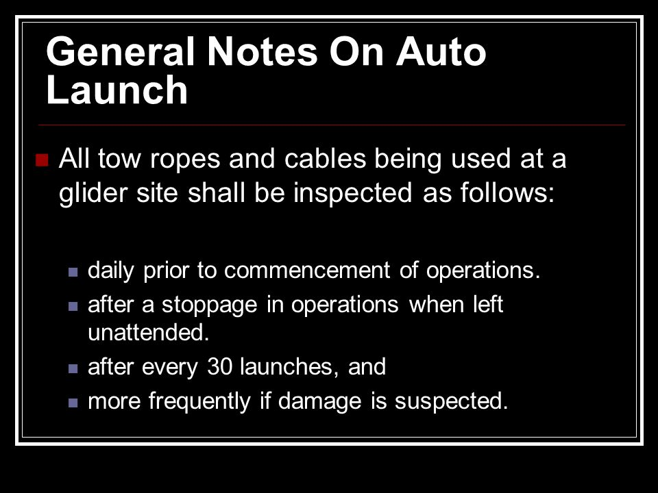 General Notes On Auto Launch