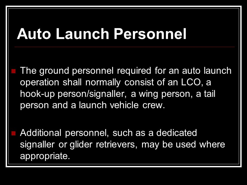 Auto Launch Personnel