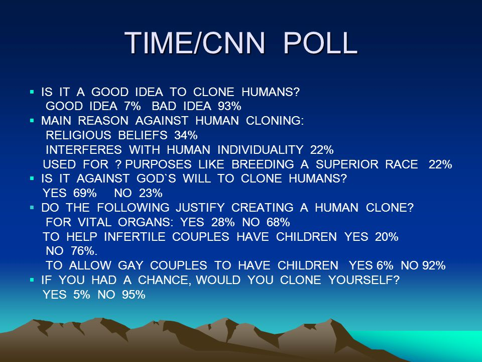 TIME/CNN POLL IS IT A GOOD IDEA TO CLONE HUMANS