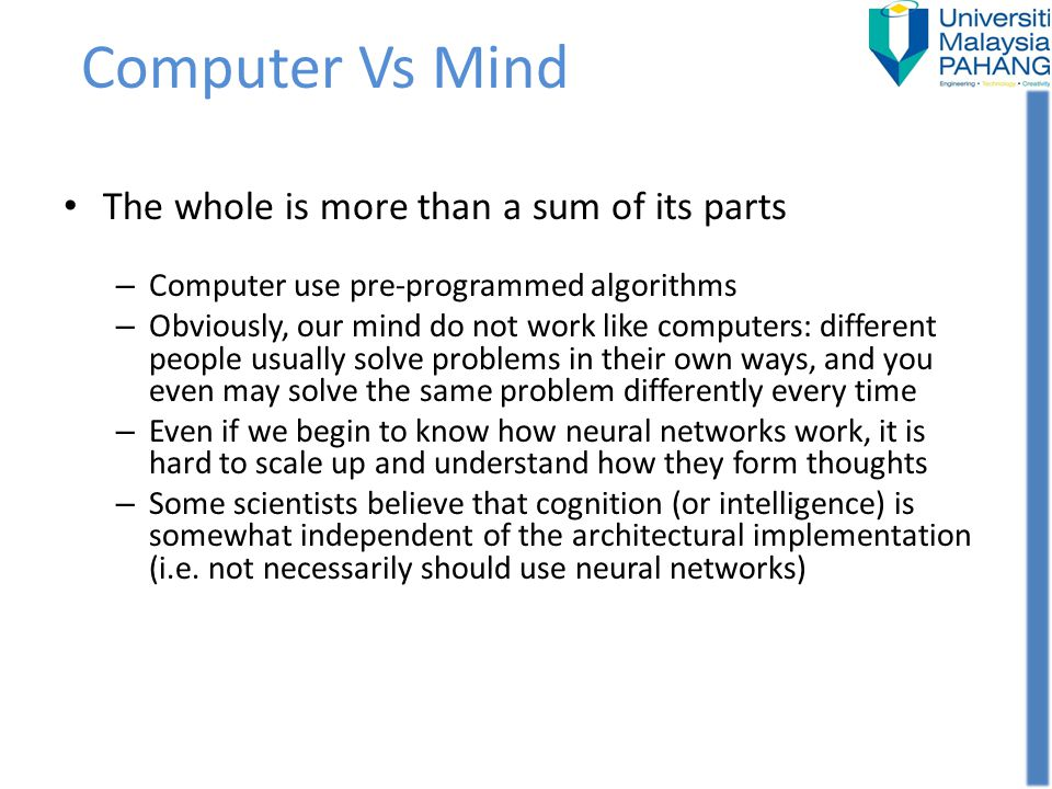 Computer Vs Mind The whole is more than a sum of its parts