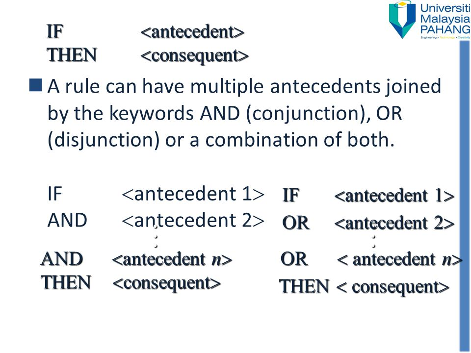 IF <antecedent> THEN <consequent>