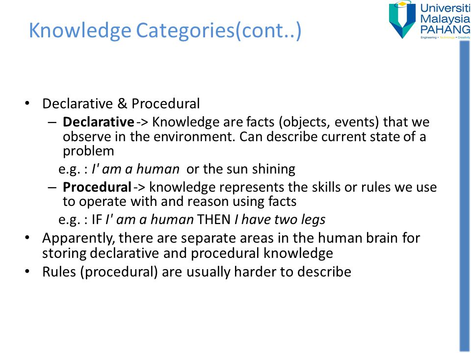 Knowledge Categories(cont..)