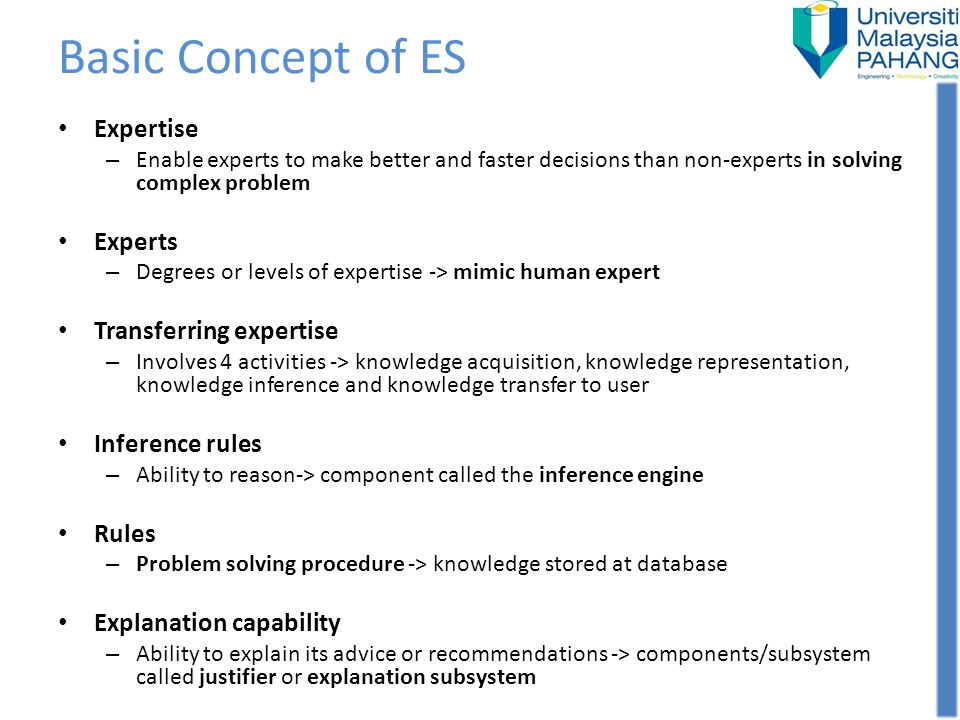 Basic Concept of ES Expertise Experts Transferring expertise