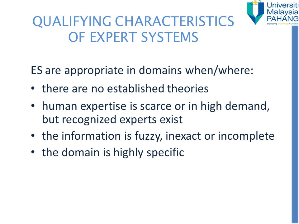 QUALIFYING CHARACTERISTICS OF EXPERT SYSTEMS