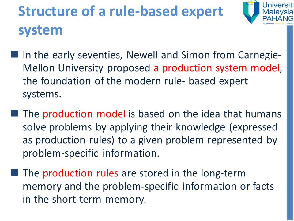 Structure of a rule-based expert system